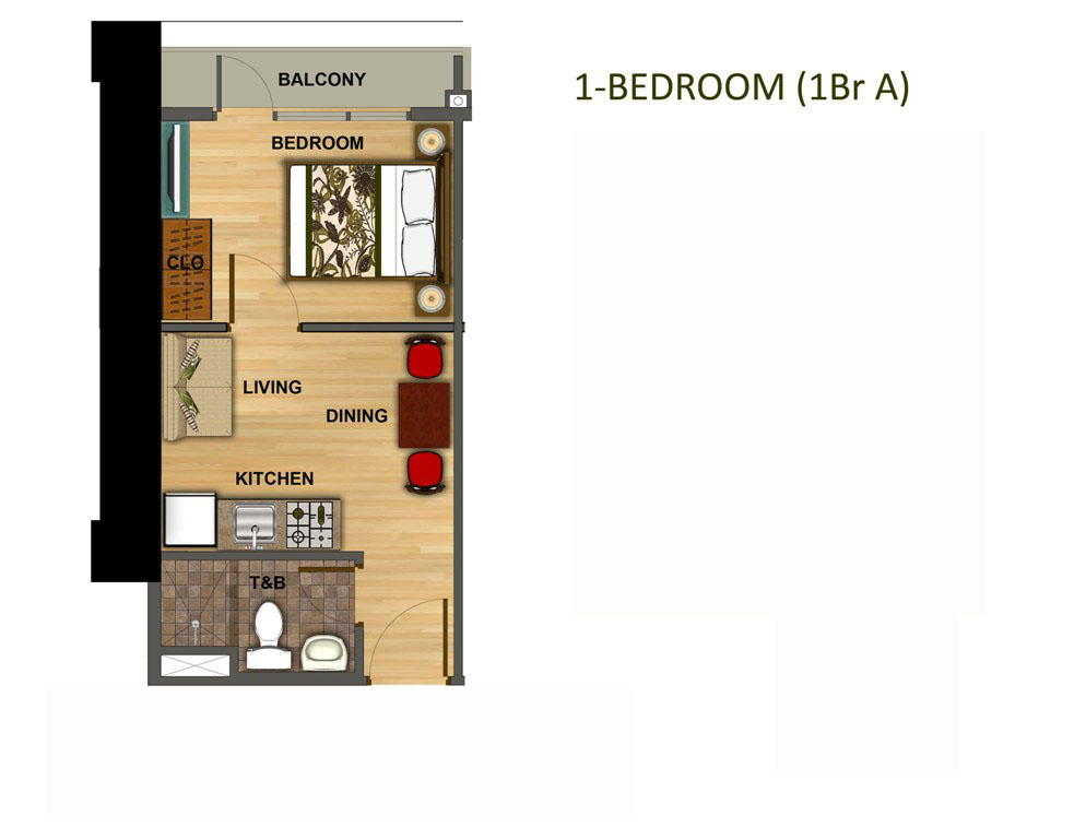 1 Bedroom 25.900 Sqm.